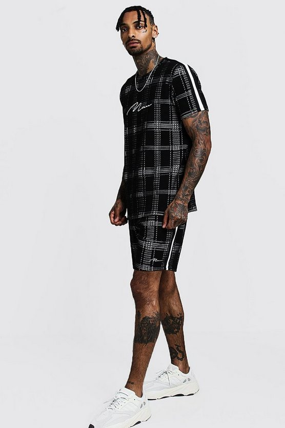 Black MAN Signature Check T-Shirt & Short Set