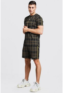 Mens Mustard MAN Signature Check T-Shirt & Short Set With Tape