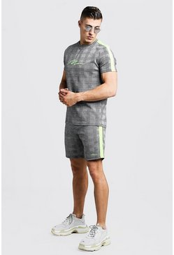 Mens Grey MAN Signature Check T-Shirt & Short Set