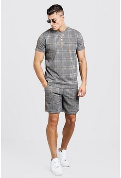 Mens Brown MAN Signature Check T-Shirt & Short Set With Tape