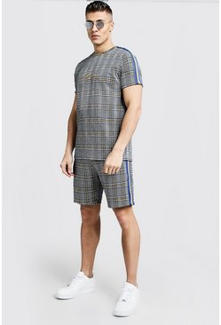 Mens Cobalt MAN Signature Check T-Shirt & Short Set
