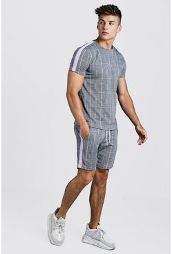 Mens Lilac MAN Signature Check T-Shirt & Short Set