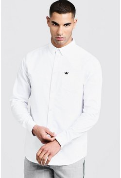 Mens White Oxford Shirt In Long Sleeve
