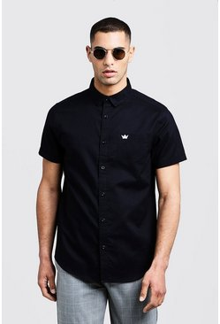 Mens Black Oxford Shirt In Short Sleeve