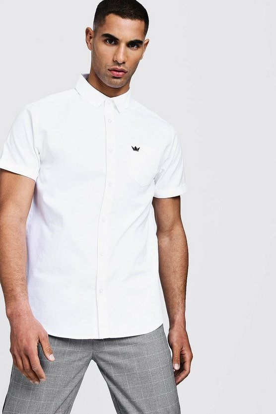 Mens White Oxford Shirt In Short Sleeve