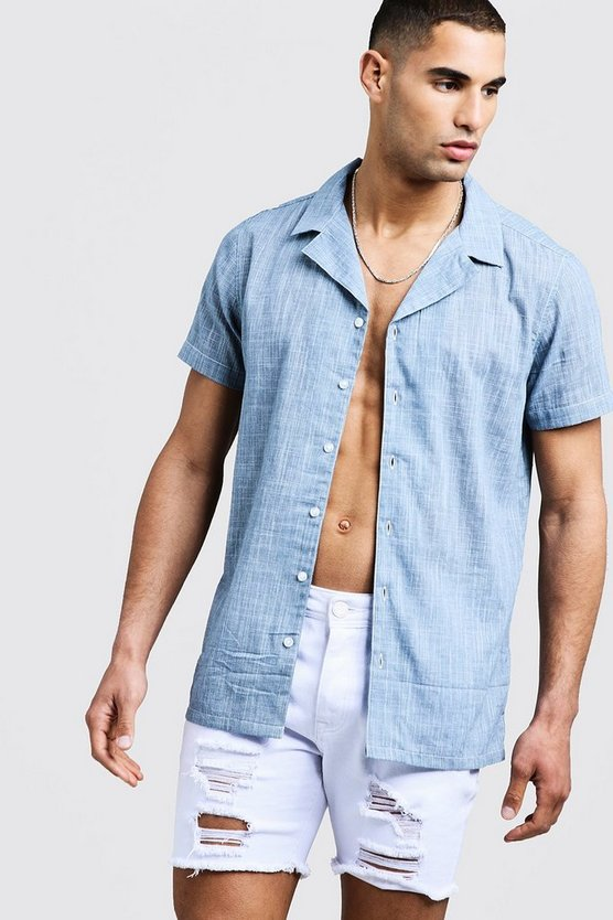 Mens Blue Short Sleeve Shirt With Revere Collar