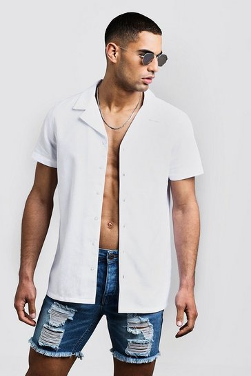 White Honeycomb Texture Short Sleeve Shirt