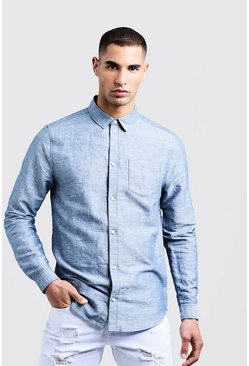 Mens Navy Linen Cotton Blend Long Sleeve Shirt