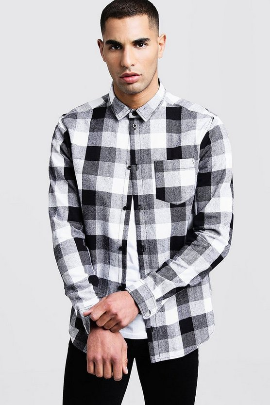 Mens Black Long Sleeve Check Shirt