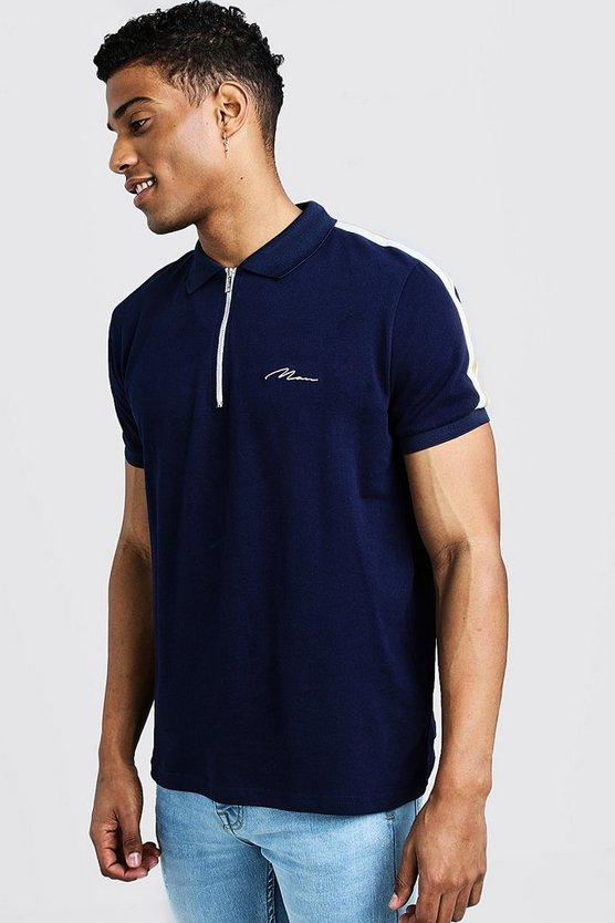 Mens Navy MAN Signature Polo T-Shirt With Shoulder Tape