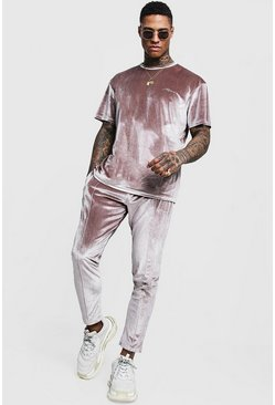 Mens Grey Man Signature Velour T-Shirt & Jogger Set