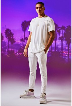Mens White Man Signature Velour T-Shirt & Jogger Set