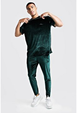 Mens Green Man Signature Velour T-shirt & Jogger Set
