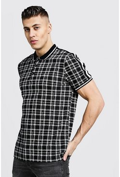 Mens Black MAN Jacquard Check Polo With Tape Detail