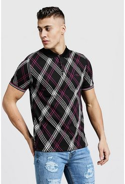 Mens Pink MAN Jacquard Diamond Check Polo