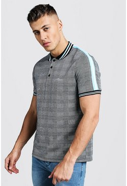Mens Grey MAN Jacquard Check Polo With Contrast Tape