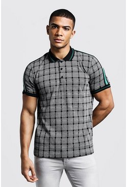 Mens Grey Check Polo With Taped Detail