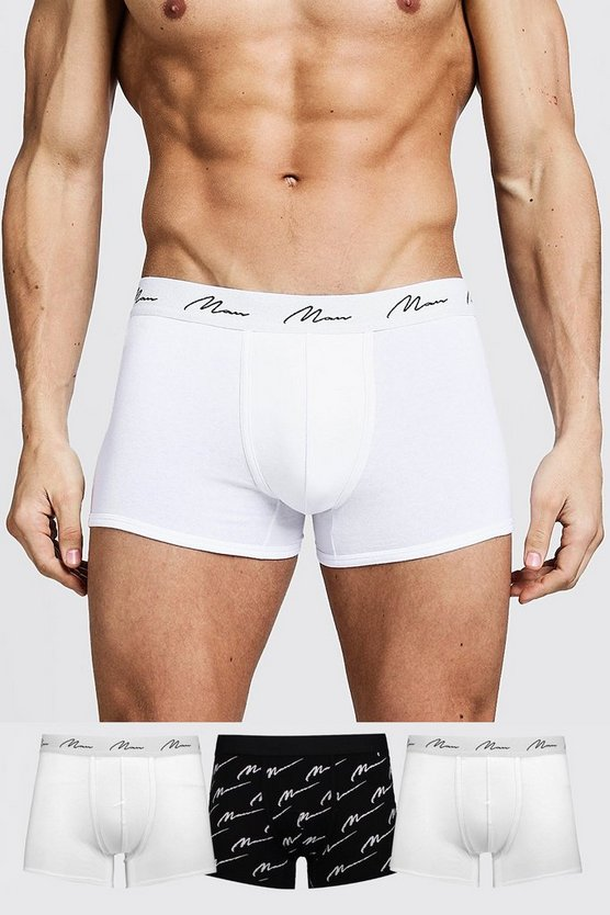 Mens Multi 3 Pack MAN Script Boxer Shorts