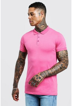 Kurzärmeliges Muscle-Fit Poloshirt, Bubblegum, Herren