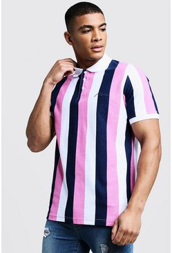 Mens Pink Man Embroidered Stripe Pique Polo