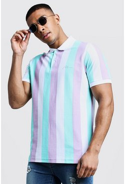 Mens Aqua MAN Embroidered Stripe Pique Polo