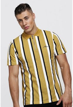 Mens Mustard MAN Signature Stripe Pique Polo