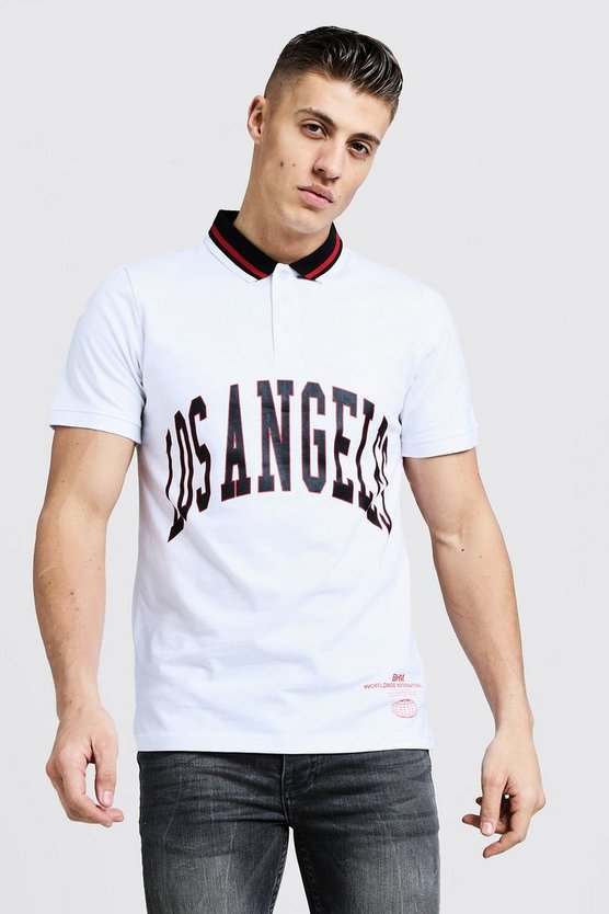 Mens White Polo Shirt With Los Angeles Print