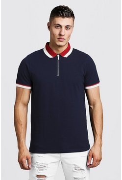 Mens Navy Zip Polo With Contrast Collar