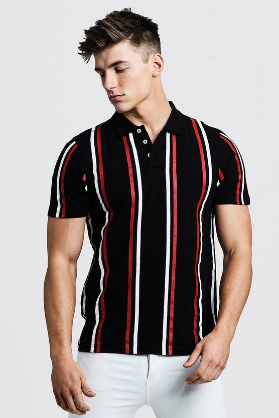 Mens Black Pique Stripe Polo
