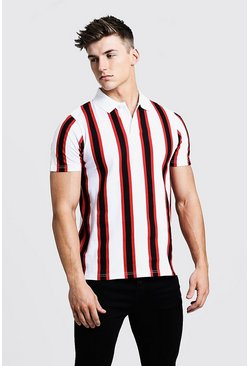 Mens White Pique Stripe Polo