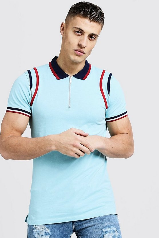 Mens Light blue MAN Zip Polo With Contrast Panels