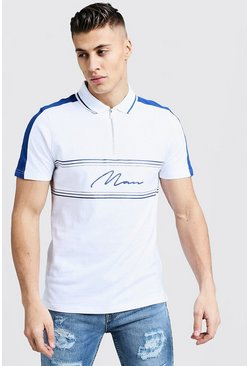 Mens White MAN Signature Zip Polo With Contrast Panels