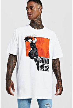 Mens White Goku Dragonaball Z Oversized License T-Shirt