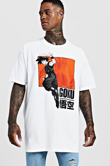 Mens White Goku Dragonball Z Oversized License T-Shirt
