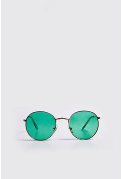 Mens Green Coloured Tint Round Sunglasses