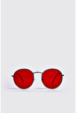 Mens Red Coloured Tint Round Sunglasses