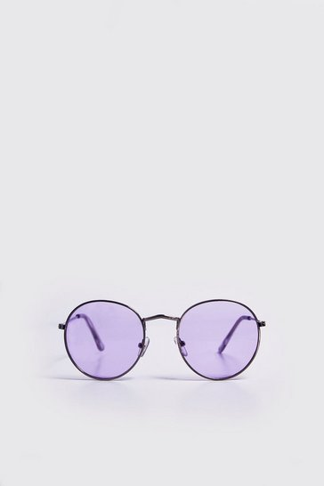 Mens Lilac Coloured Tint Round Sunglasses