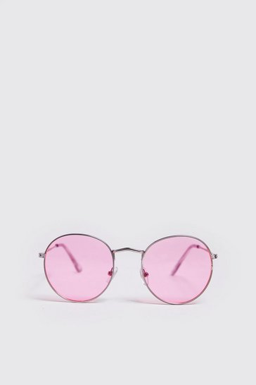 Mens Pink Coloured Tint Round Sunglasses