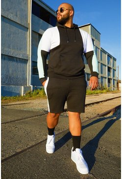 Mens Black Big & Tall Colour Block Short Tracksuit