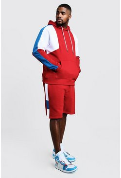 Mens Red Big & Tall Colour Block Short Tracksuit