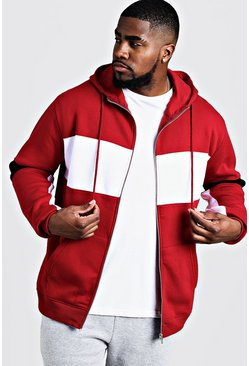 Mens Red Big & Tall Colour Block Zip Through Hoodie