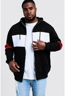Big & Tall - Sweat à capuche zippé colour block, Noir, Homme