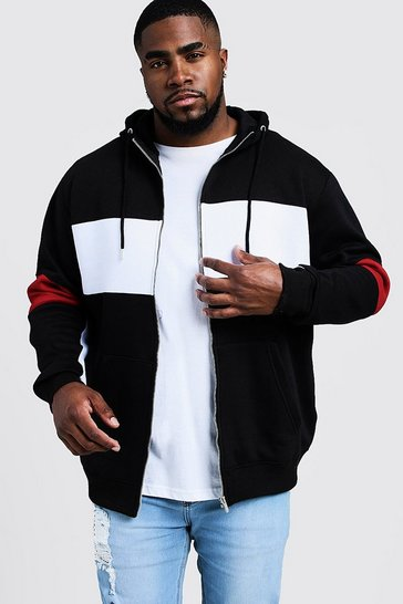 Black Big & Tall Colour Block Zip Through Hoodie