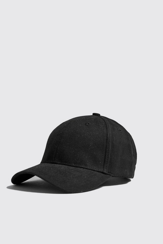 Mens Black MAN Two Stripe Side Embroidered Cap