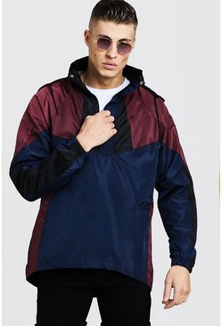 Mens Purple Colour Block Half Zip Cagoule