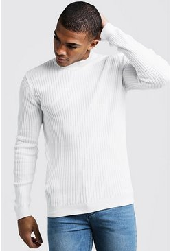 Mens Ivory Long Sleeve Ribbed Turtle Neck
