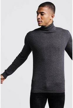 Mens Charcoal Long Sleeved Ribbed Roll Neck Jumper
