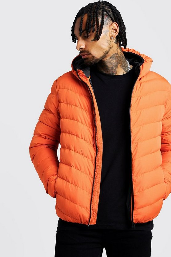 Orange Quilted Zip Through Jacket With Hood