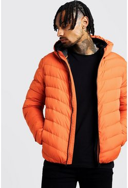 Mens Orange Quilted Zip Through Jacket With Hood