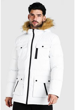 Mens White Multi Pocket Quilted Parka With Faux Fur Hood